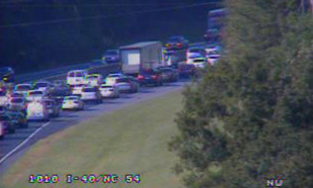 Crash on I-40 WB Between NC-54 and US 15-501 Causes Friday Traffic Headache