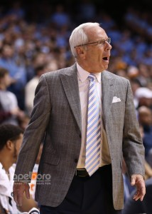 UNC head coach Roy Williams was not a happy camper throughout most of Sunday's matchup against Tennessee. (Todd Melet)