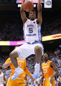 Tony Bradley posted a double-double (10 points, 10 rebounds) in 20 minutes off the bench. His block in the final seconds also helped seal UNC's win over Tennessee. (Todd Melet)