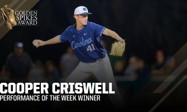 UNC Reliever Cooper Criswell Takes Home Golden Spikes Gold Standard Performance of the Week Honor