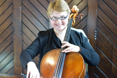 Sarah James, Cello. Performing at the Bestwood Hotel, Nottingham.