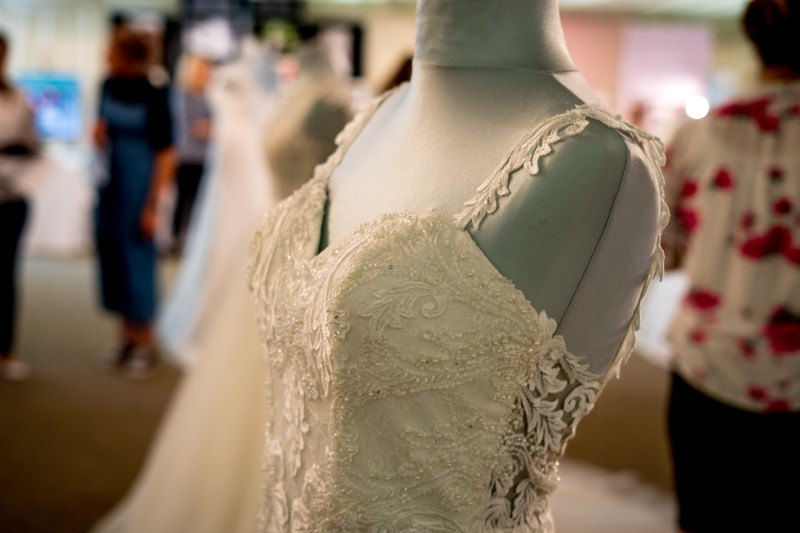 wedding dress on mannequin detail.