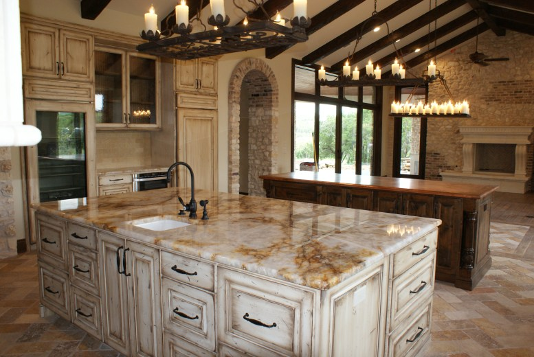 Paint and stained kitchen