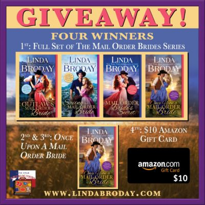 Once Upon a Mail Order Bride tour giveaway graphic. Prizes to be awarded precede this image in the post text.