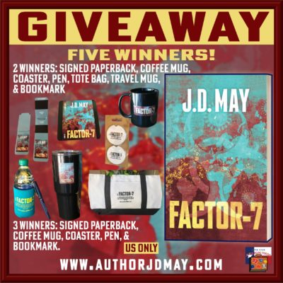 Factor-7 tour giveaway graphic. Prizes to be awarded precede this image in the post text.
