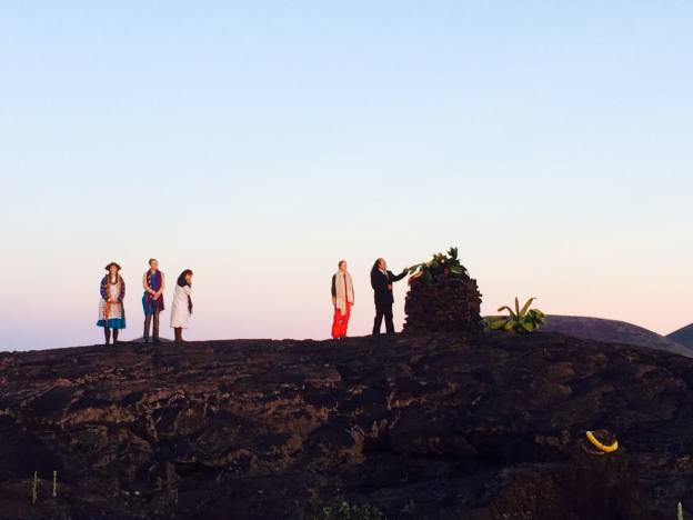 Sunrise offerings before the protest at the ahu (alter)  across from the base of Mauna Kea