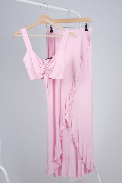 Boohoo Pink Jersey Co-Ord Set - Size 10 - Front