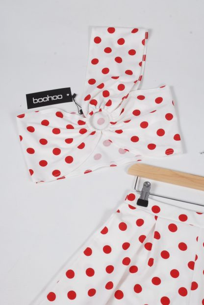 Boohoo Red & White Polka Dot Co-Ord Set - Size 10 - Front Detail