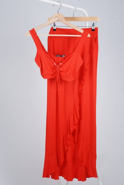 Boohoo Red Jersey Co-Ord Set - Size 10 - Front