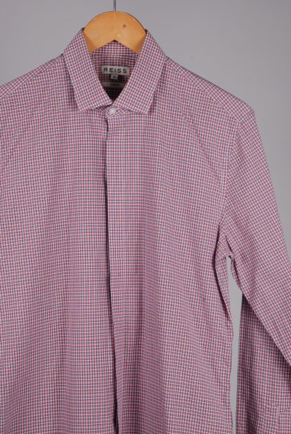 Reiss Blue & Red Check Shirt - Size M - Front Detail