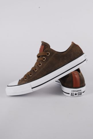 Converse Brown Leather Trainers - Size 5 - Side