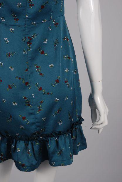 Boohoo Teal Floral Mini Dress - Size S - Back Skirt