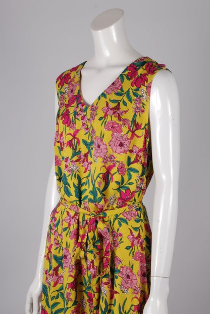 F+F Yellow & Pink Floral Dress - Size 14 - Side Detail