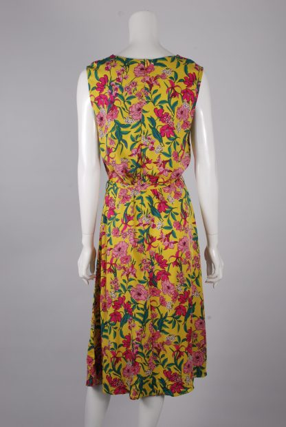 F+F Yellow & Pink Floral Dress - Size 14 - Back