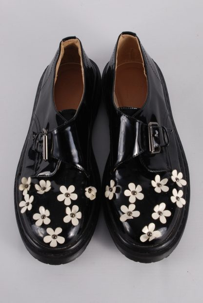 ASOS Black Patent Flower Decal Shoes - Size 8 - Top