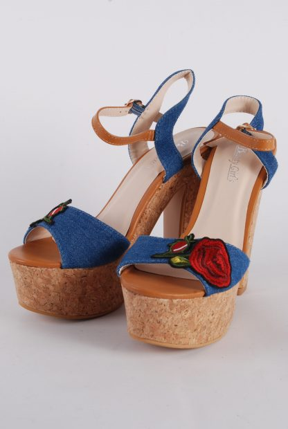 Denim Floral Strappy Heels - Size 5 - Front