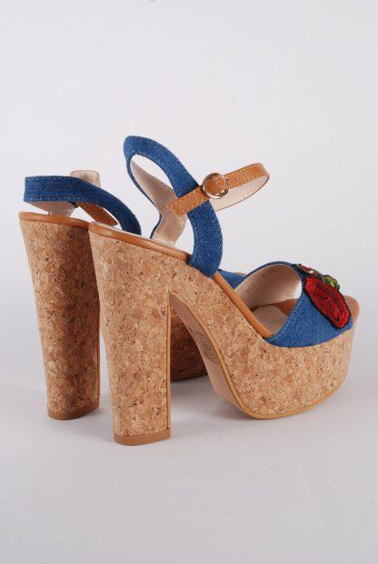 Denim Floral Strappy Heels - Size 5 - Back Detail