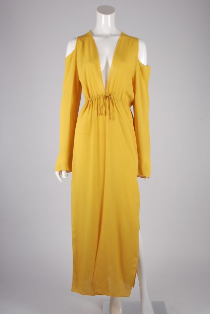 Boohoo Yellow Sheer Kimono Jacket - Size S/M - Front