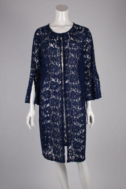 Blue Lace Peplum Sleeve Jacket - Size 22 - Front