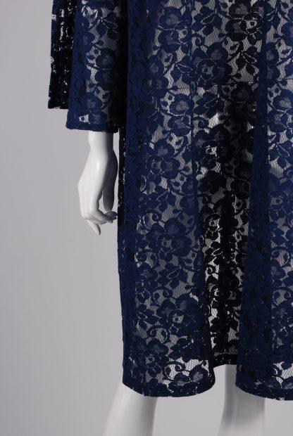 Blue Lace Peplum Sleeve Jacket - Size 22 - Back Detail