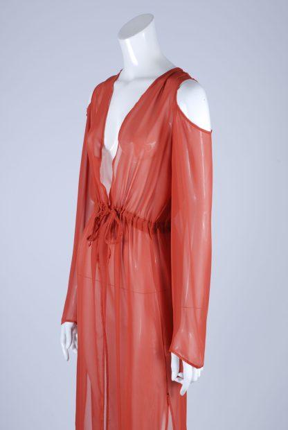 Boohoo Orange Sheer Kimono Jacket - Size S/M - Side Detail