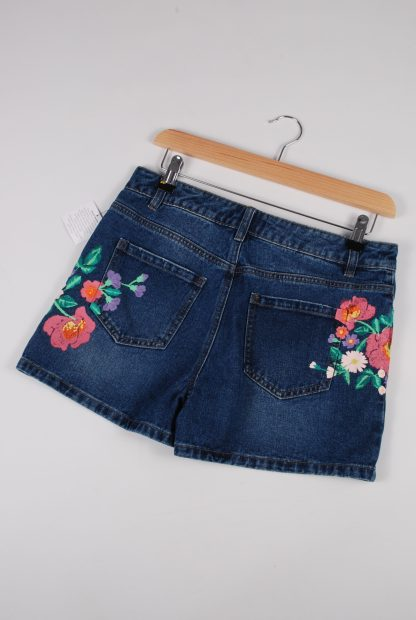 TU Floral Painted Denim Shorts - Size 8 - Back