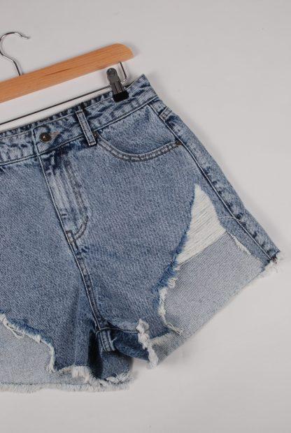 Boohoo Denim Cut Out Shorts - Size 10 - Front Hem