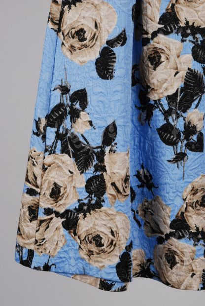 Topshop Blue Floral Jacquard Midi Skirt - Size 10 - Back Detail