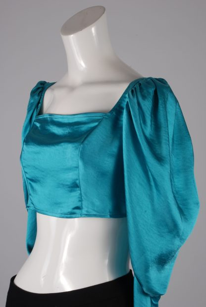 Turquoise Satin Crop Top - Size 10 - Side Detail
