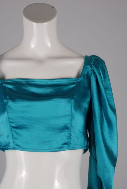 Turquoise Satin Crop Top - Size 10 - Front Detail