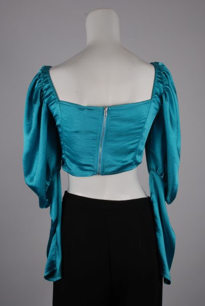 Turquoise Satin Crop Top - Size 10 - Back