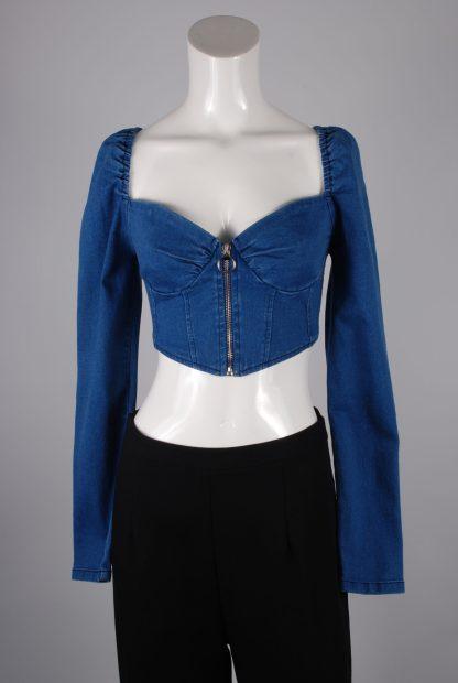 Blue Denim Look Crop Top - Size M - Front