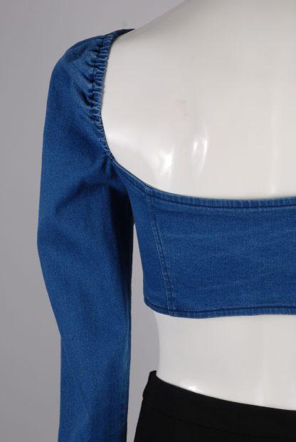 Blue Denim Look Crop Top - Size M - Back Detail