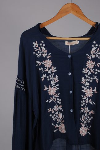 Misskoo Blue Floral Embroidered Blouse - Size S - Front Detail