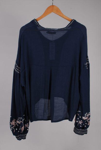 Misskoo Blue Floral Embroidered Blouse - Size S - Back