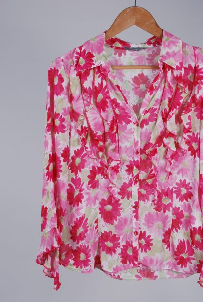 Per Una Pink & Green Floral Blouse - Size 8 - Front Detail