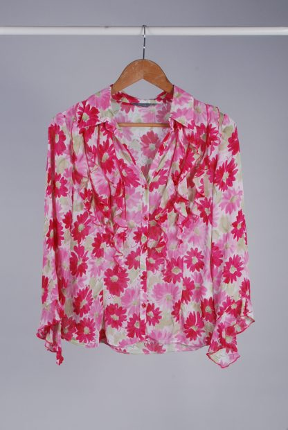 Per Una Pink & Green Floral Blouse - Size 8 - Front