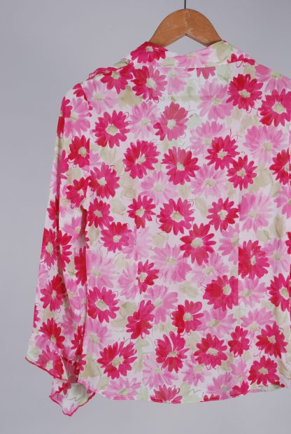 Per Una Pink & Green Floral Blouse - Size 8 - Back Detail