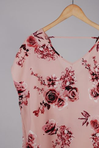 Pink Rose Pattern Top - Size 10 - Front Detail