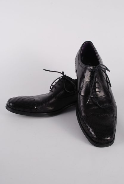 Gucinari Black Leather Lace Up Shoes - Size 8 - Front
