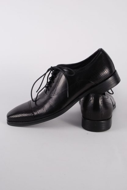 Gucinari Black Leather Lace Up Shoes - Size 8 - Side