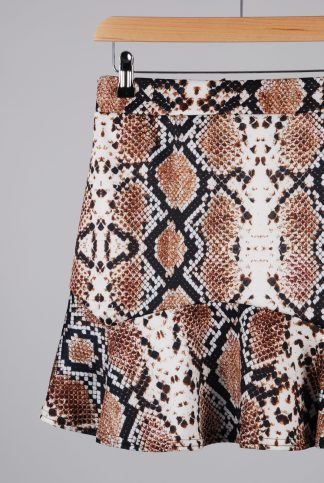 Pretty Little Thing Animal Print Mini Skirt - Size 12 - Front Detail