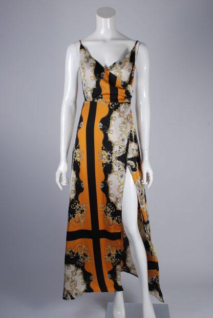 Nasty Gal Baroque Pattern Split Maxi Dress - Size 10 - Front