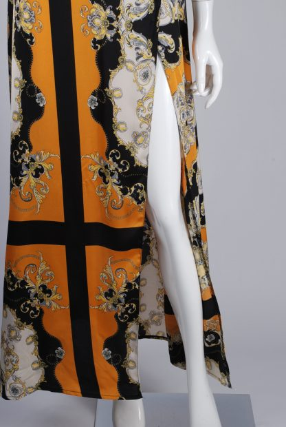 Nasty Gal Baroque Pattern Split Maxi Dress - Size 10 - Front Hem
