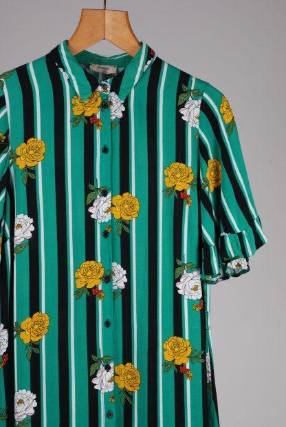 Papaya Floral & Striped Shirt Dress - Size 12 - Front Detail