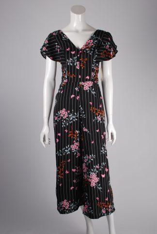 Japna Floral & Striped Jumpsuit - Size S - Front