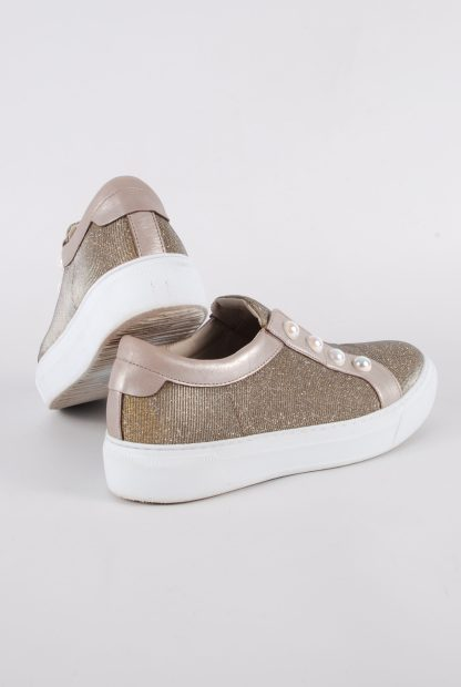 Gabor Gold Tone Shimmering Trainers - Size 5 - Back