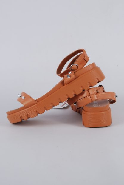 Boohoo Brown Studded Chunky Sandals - Size 4 - Side