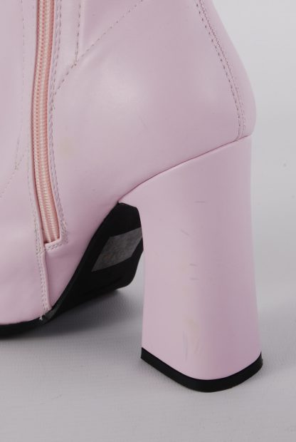 Nasty Gal Pink Block Heel Sock Boots - Size 5 - Back Damage