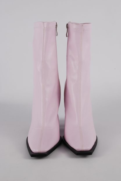 Nasty Gal Pink Block Heel Sock Boots - Size 5 - Front Detail